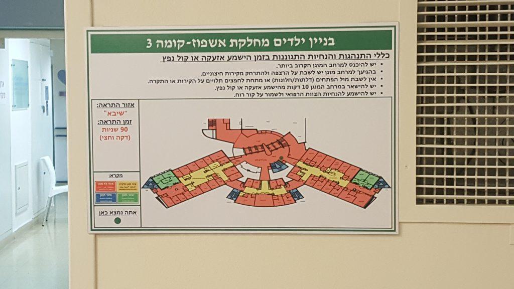 שילוט חירום ומקרא של האזורים המוגנים בבית חולים